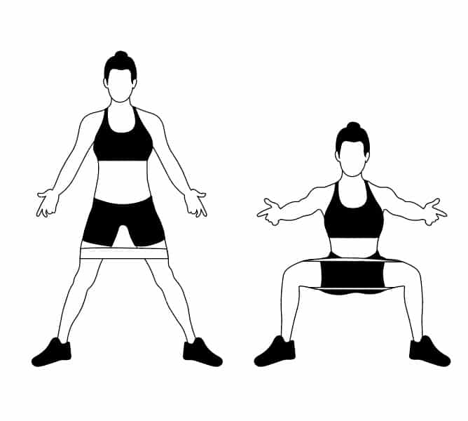 Banded Sumo Squats Women